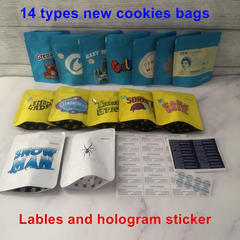 New Arrival Touch Skin 14 types COOKIES California SF 3.5g Mylar Bags Lemonchello Blanco Lemonnade Cake mix Snow Man Cookies Bag 1/8 Bag