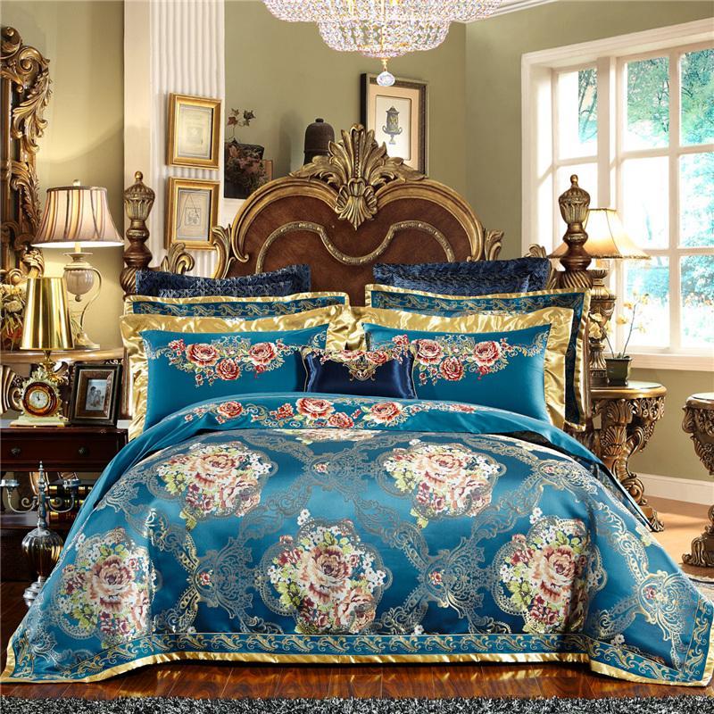 Blue European Royal Wedding Bedding Set Silk Satin cotton Jacquard Queen King Duvet Cover Bed sheet Bed Linen Pillowcases
