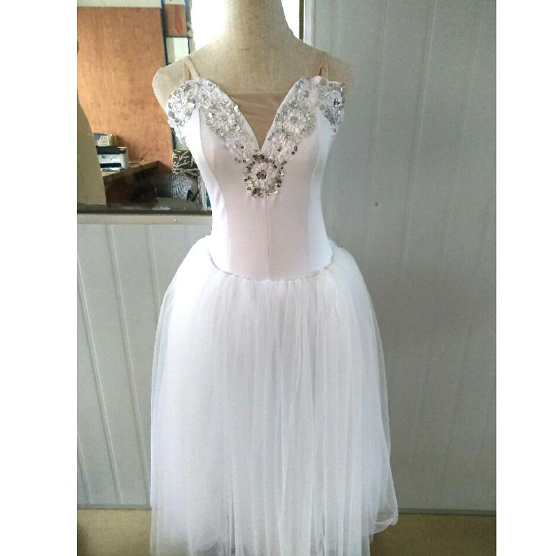 White Romantic Ballet Tutu Veil Rehearsal Practice Dress Swan Lake Costumes For Women Long Tulle Dress With Puffy Sleeve