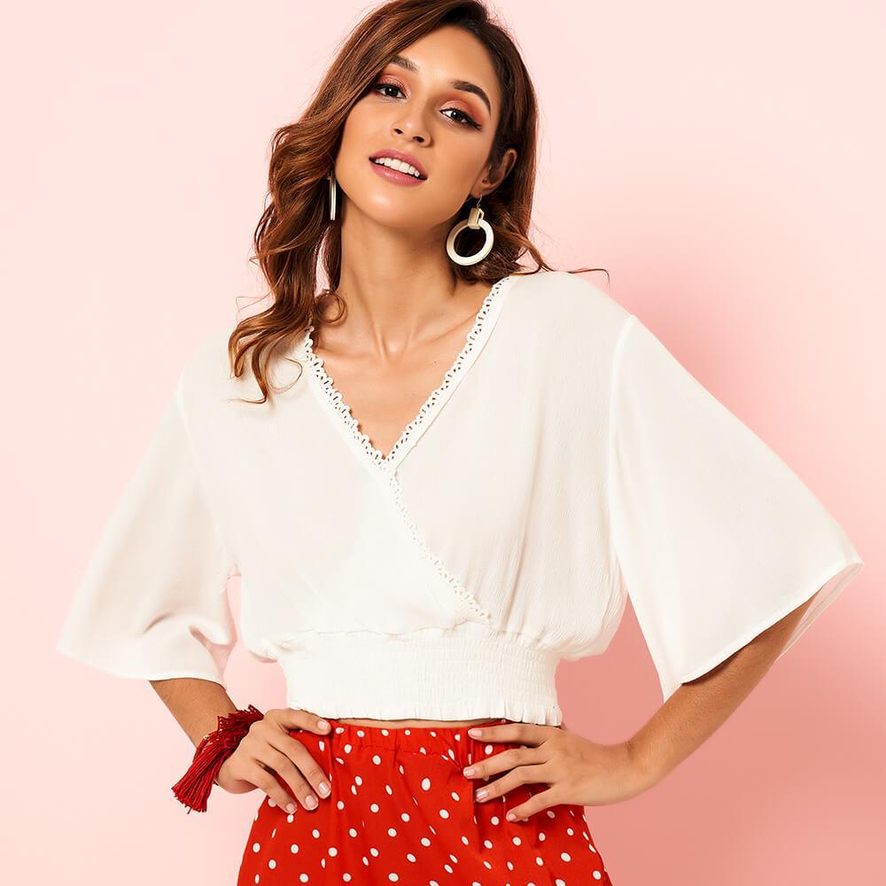 New Sommer 2020 Mode Frauen Bluse Fest Farbe OL Art V-Ausschnitt Aufflackern-Hülsen-Top Großhandel S-XL