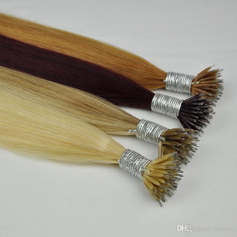 """Double brin de soie Drawn droit brazilian Anneau Nano Extensions cheveux 1 g 100 g Lot 20"""" Top Qualité"""