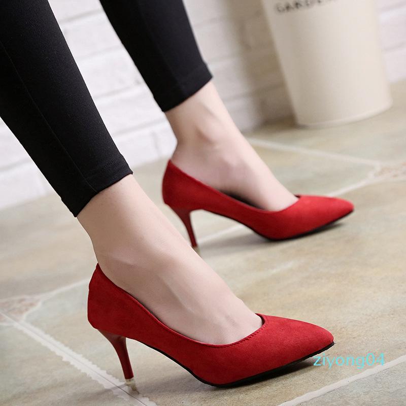 Pointu Talons Stiletto Shallow Bouche sauvage Femmes simples Chaussures de travail professionnel en rouge talons hauts bas Z04
