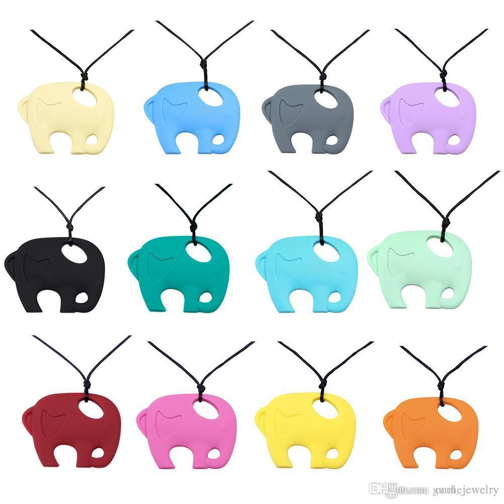 Nueva llegada collares largos simple elefante colgante collar de dentición joyería de silicona collares para mujeres envío gratis