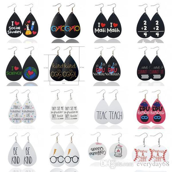 Boucles d'oreilles en cuir de personnalité pour les femmes de lettres créatives anglaises lunettes bijoux imprimer Boucles d'oreilles Teardrop fête Cadeaux de Noël
