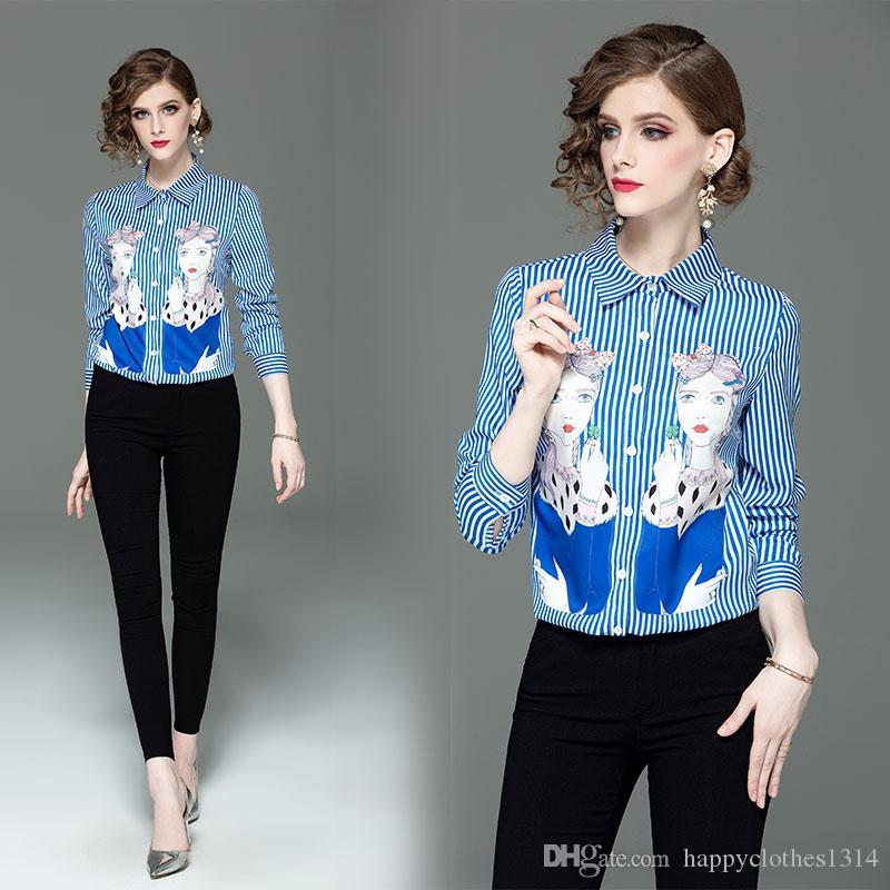 Novo Estilo Primavera Queda Runway Beleza Listrada Camisas de Impressão Blusas de Manga Longa das mulheres Senhora do Escritório de Negócios Elegante Lapela Pescoço Fino Camisa Tops