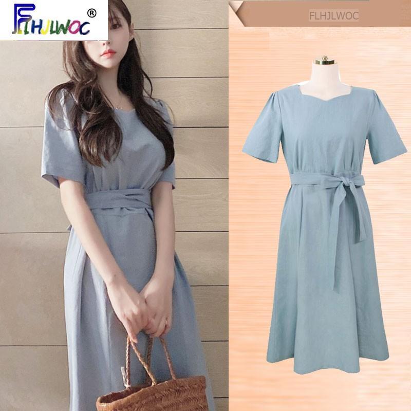 Vestidos de algodão Vintage Retro Hot Vendas Verão Mulheres Bow Tie Azul Data Girls Dress temperamento senhora Coréia do Sul Chic bonito 5507