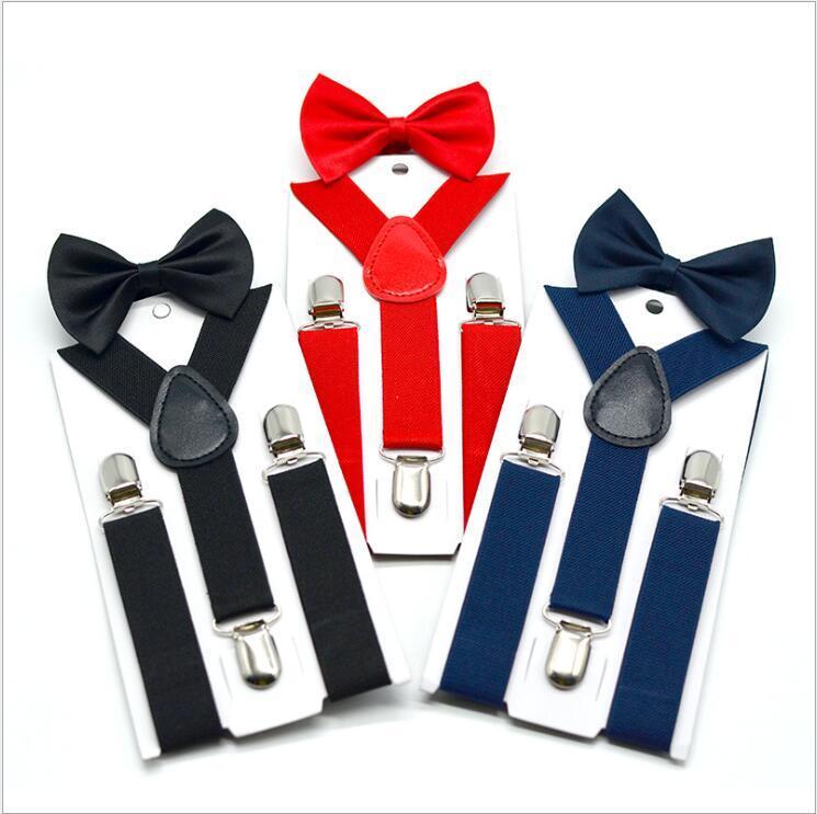 Детские Подтяжки Bow Tie Set Мальчики Девочка Подтяжки Упругие Y-Подтяжка с Bow Tie Моды пояс Дети Детского ретро ремнем клип Y-обратно C1445