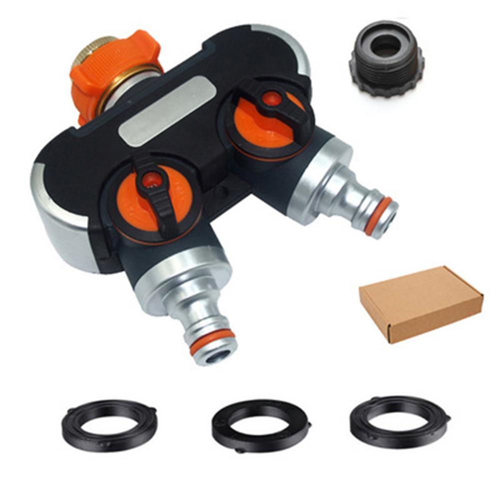 Garden Hose Splitter Adjustable Lockable Rubberized Tap Connector for Outdoor Garden LB88