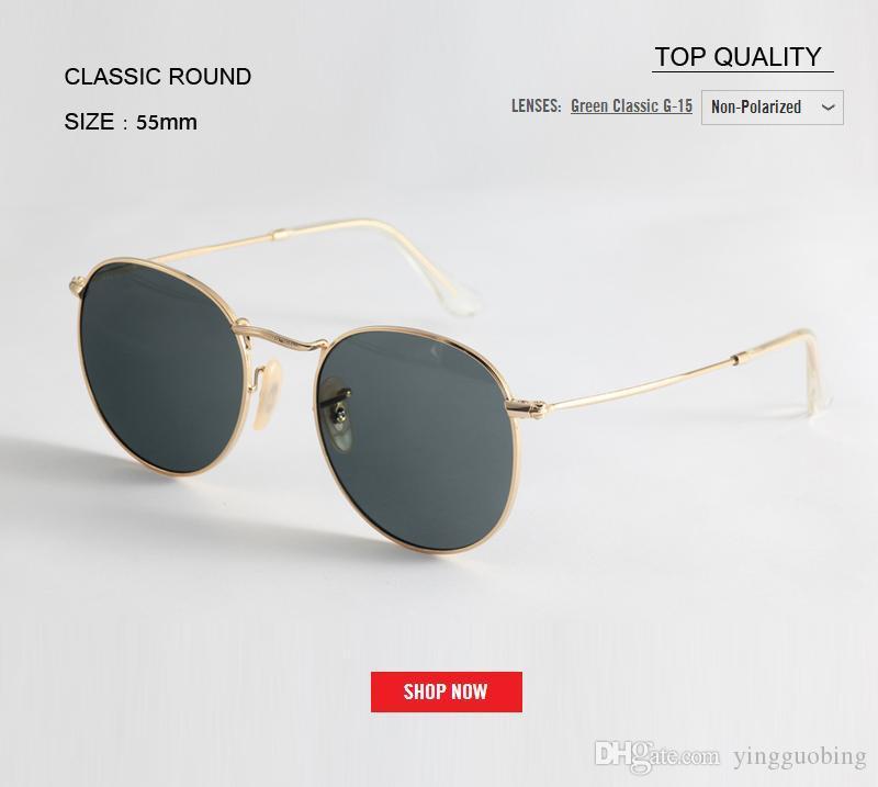 2020 hochwertige Marken Runde rosa G15 Sonnenbrillen für Frauen Metall Sonnenbrille Mann 50mm UV400 Gradient Designer GAFAS Brillen Weiblich