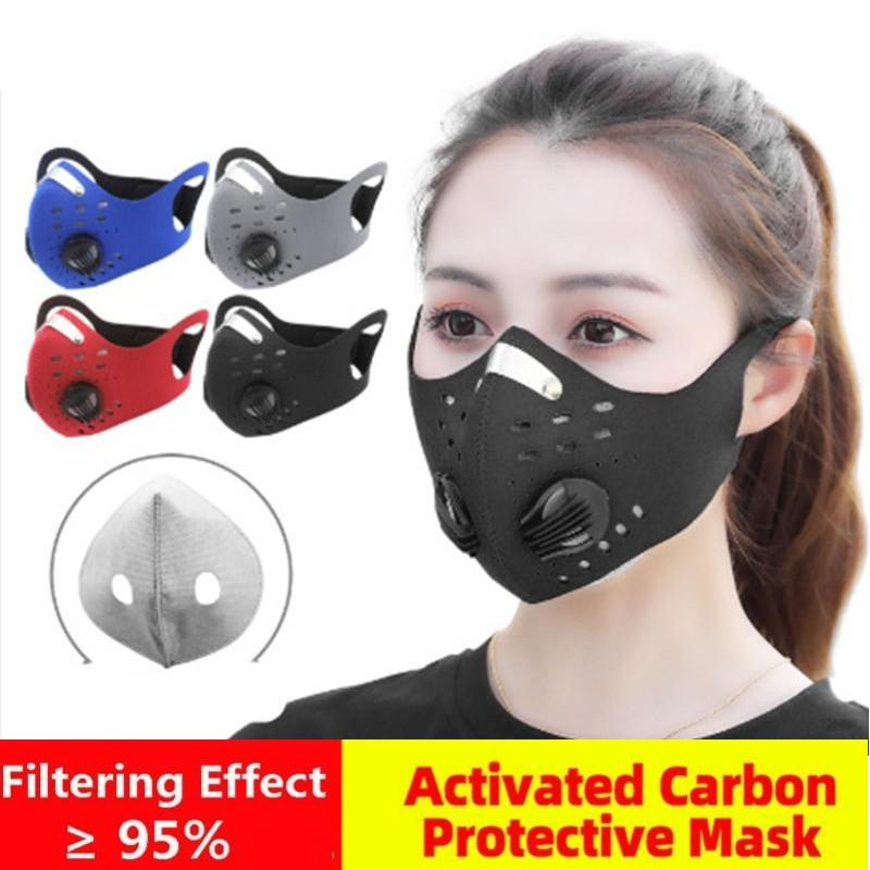 DHL Cycling Protective Face Masks With Activated Carbon PM2.5 Anti-Pollution Dust Sport Running Training Road Bike Reusable Masks