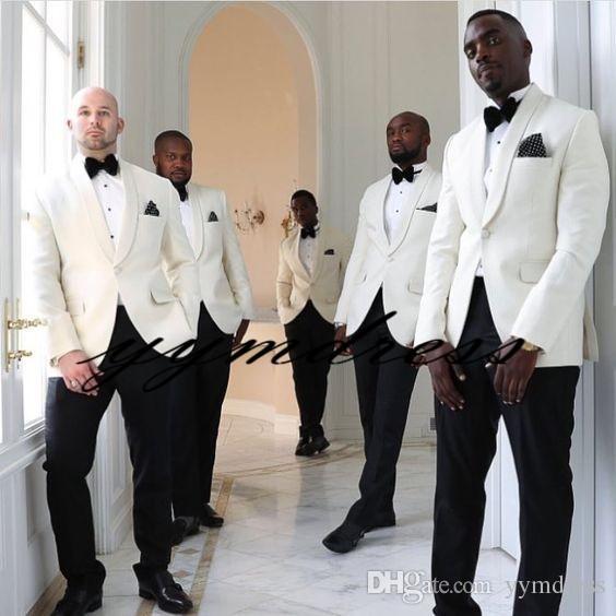 White One Button Groom Tuxedos 2019 Best man Mandarin Shawl Lapel Groomsman Men Wedding Suits Bridegroom (Jacket+Pants+Bow)