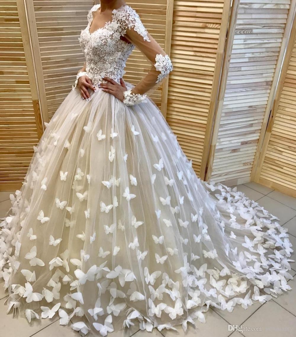 Vestido de novia de manga larga a medida Vestido de novia Vestido de novia de lujo Flores de mariposa Princesa Vestido de novia