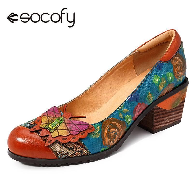 SOCOFY Vintage Temel El Boyalı Çiçek Desen Ekleme Kelebek Gerçek Deri Kayma Açık Yüksek Topuklar Bayan Ayakkabıları T200525 Pompalar