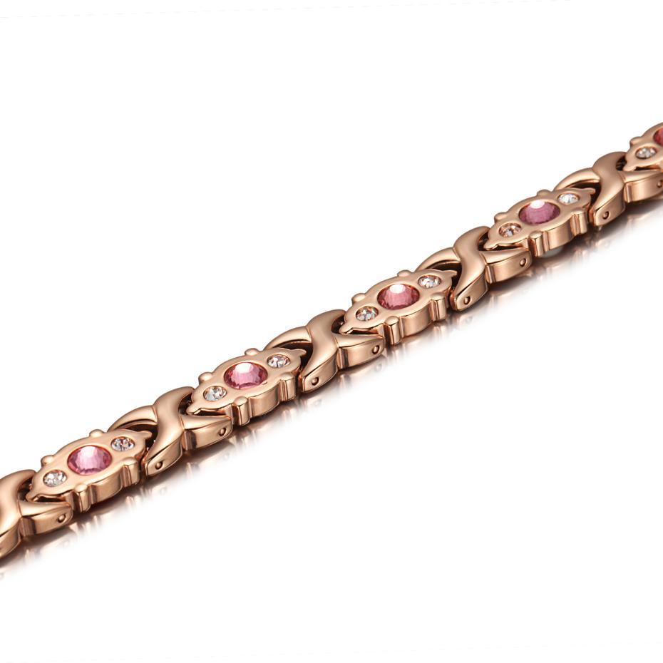 FASHION- Cristal Gem Bracelet Bio magnétique Santé énergie Bracelets en or rose bijoux à la mode Cadeaux de Noël pour les femmes Lady S915