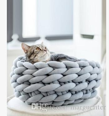 Hand Woven Cat Nest Super Thick Wool Pet Nest Creative Round Knitting Rope Cat House Small Dog Kennel