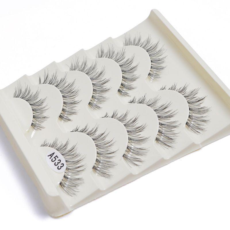 Profesional Natural Grueso Largo Pestañas Falsas Pestañas falsas Ojos 5 pares Maquillaje hecho a mano Naturaleza Falso Comestic Negro