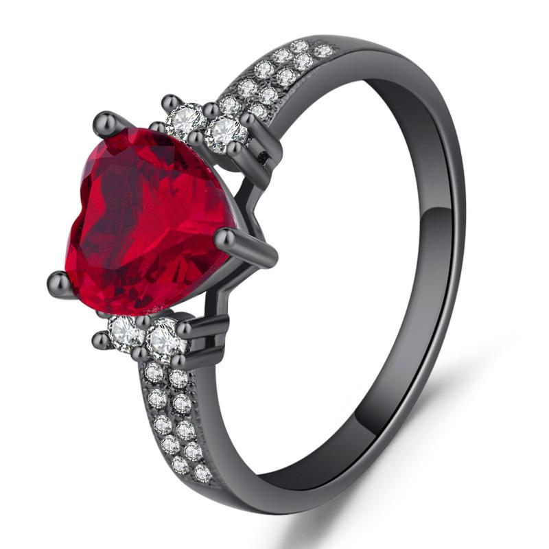 Sparkling Zircon Red heart black rings for women ladies Girls Wedding Engagement party jewelry ring size 6-10 Bague femme Gifts