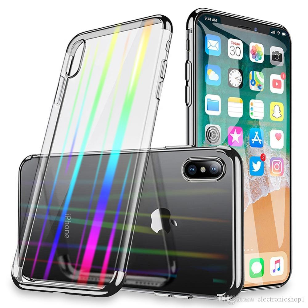Amazing Luxury Gradient Laser Clear Phone Case For iPhone X XS MAX XR Ultra Thin Rainbow Glass Cover For iPhone 7 8 6 6S Plus Capa Coque