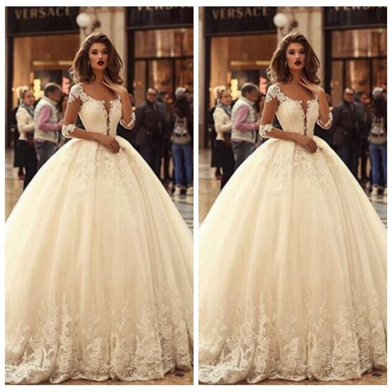 2019 Sheer Long Sleeves Lace Appliques Wedding Dress Princess Beautiful Bridal Gowns Half Sleeves Vestidos De Mariage Custom Made