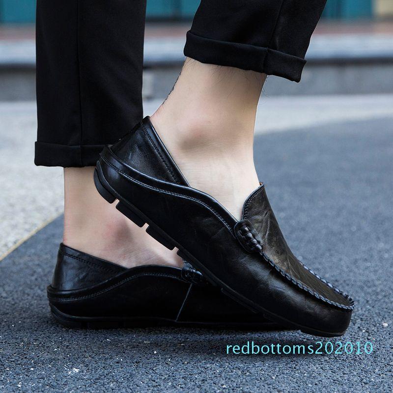 Düz Tekne Ayakkabı Erkek Klasik Chaussure Homme Boyut 38-57 XZ-127 r10 Açık Erkekler Ayakkabılar Gerçek Deri Moccasin loafer'lar Tasarımcı Kayma