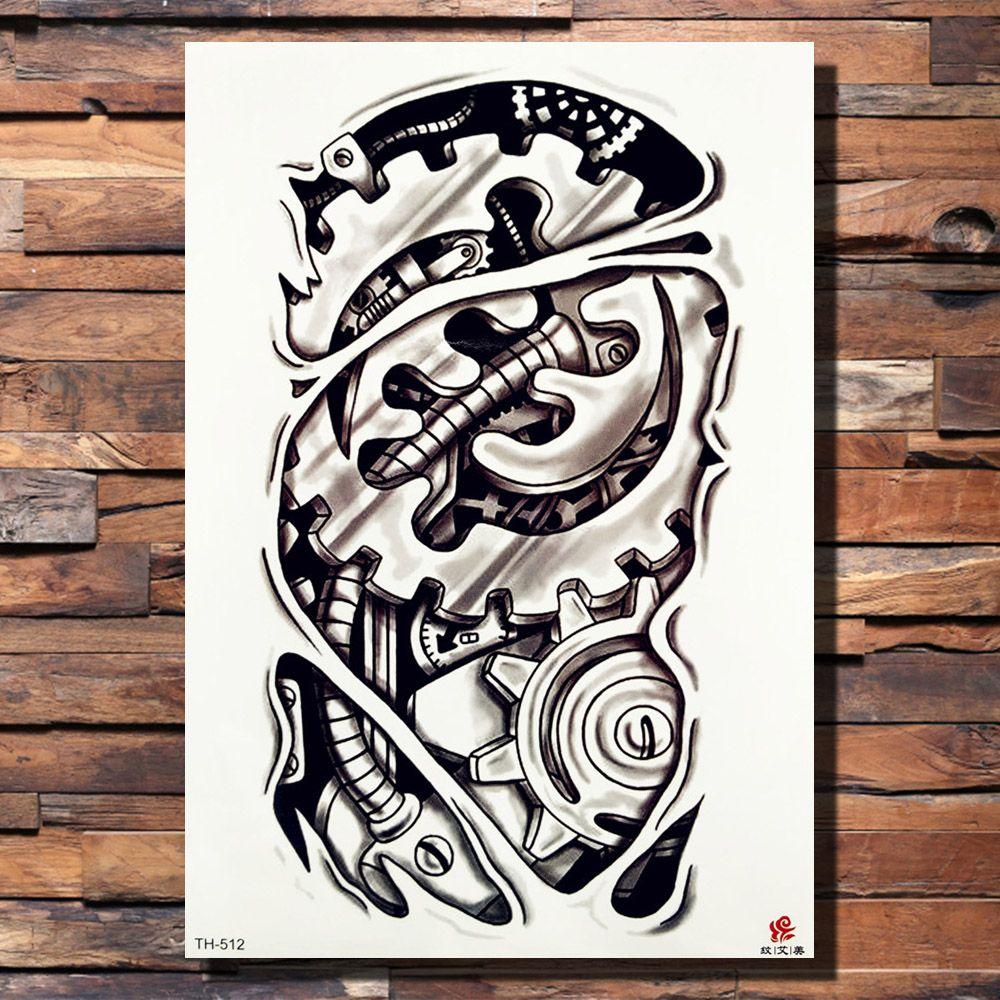 ab26dcd93 FANRUI Robotic Mechanical Arm Tattoo Temporary Sticker Gear Screw Pencil  Sketch Black Tatoo Gap Body Art 3D Fake Tattoos For Men Skull Temporary  Tattoos ...