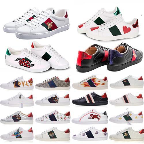 2020 Ace bordado abelha pequena plana Casual Shoes Homens Mulheres Low Cut Branco Preto Sneakers Loafers Moda Unissex Zapatos Animais Walking Shoes