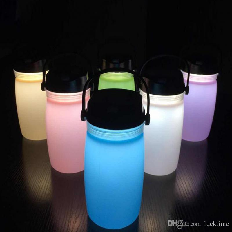 Foldable/&Portable Silicone Rechargeable Water Bottle Lamp Light fr Night Camping