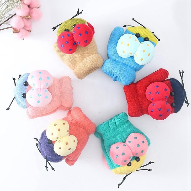Bebek Kış Örme Eldiven Karikatür Eldivenler Çocuk Erkek Kız Tasarımcı 1-3 T Unisex Peluş Eldiven Örme Sıcak Yumuşak Mittens 6 Renkler HHA736