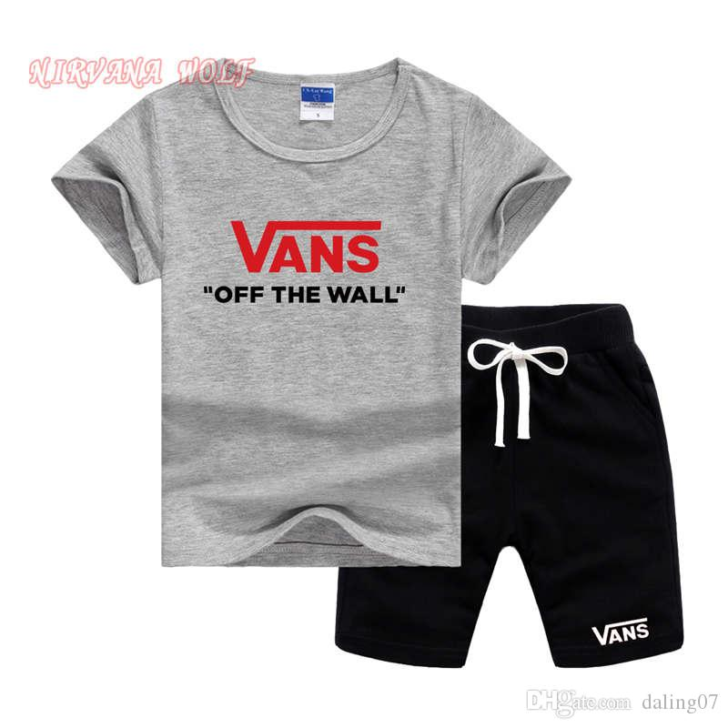 VansLogo Luxus Designer Infant Kleinkind 2-7 T Baby Kinder Jungen Top T-shirt Hosen 2 STÜCKE Kurzarm Sommer Outfits Kleidung Set
