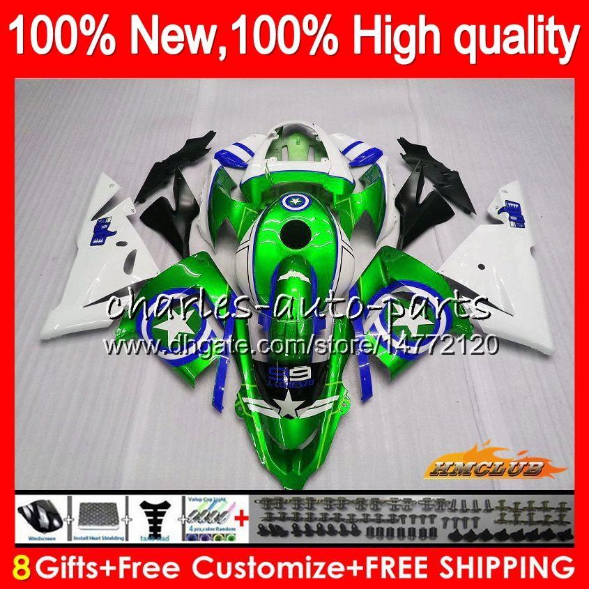 Тело Для KAWASAKI ZX ZX10R 1000 CC ZX 10 R 04 05 кузовного 43HC.89 ZX1000CC 1000cc ZX 10R ZX10R 04 05 2004 2005 Полные зеленые звезды обтекателей