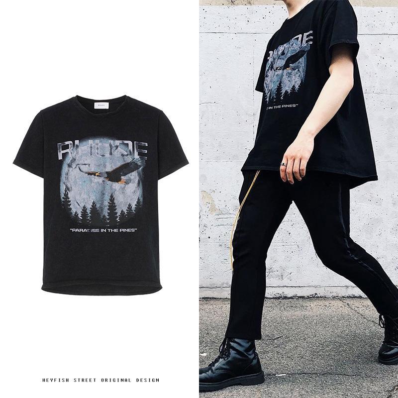 diseñador de moda INS Rhude retro lavado águila de la vendimia impresión de manga corta de los amantes camiseta de hombre y para mujer de la calle