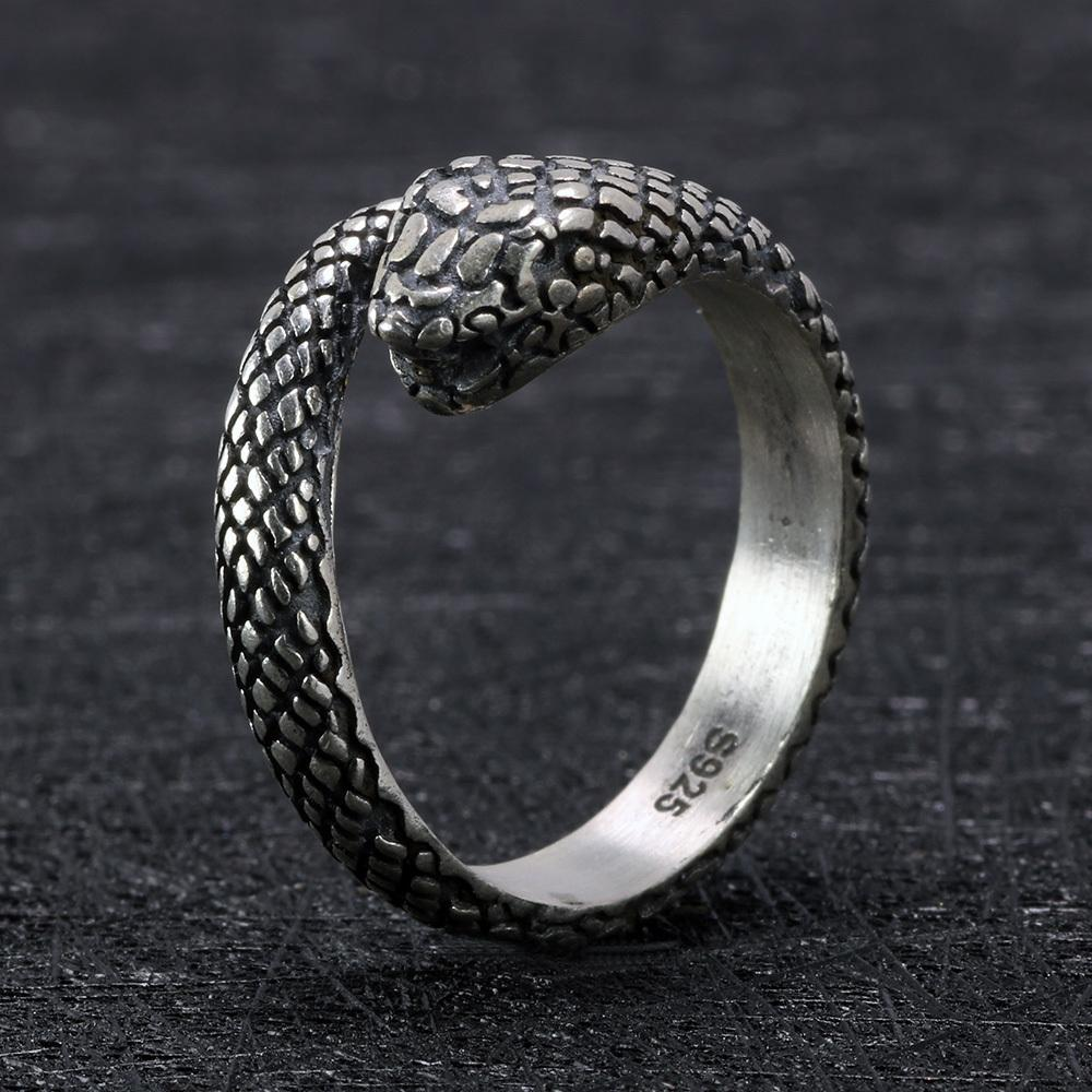 925 Sterling Silver Snake Skull Gothic Rings For Women And Men Antique Retro Punk Thai Silver Viking Rings Animal Jewelry J190627