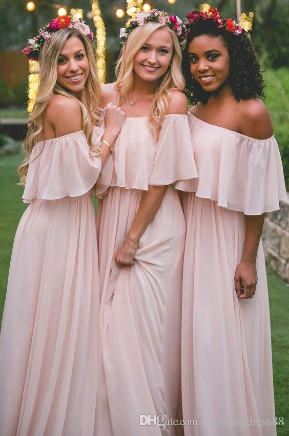 Country Blush Pink Off shoulders Bridesmaid Dresses Cheap Long Chiffon Empire Beach Open Back Evening Wedding Party Dress