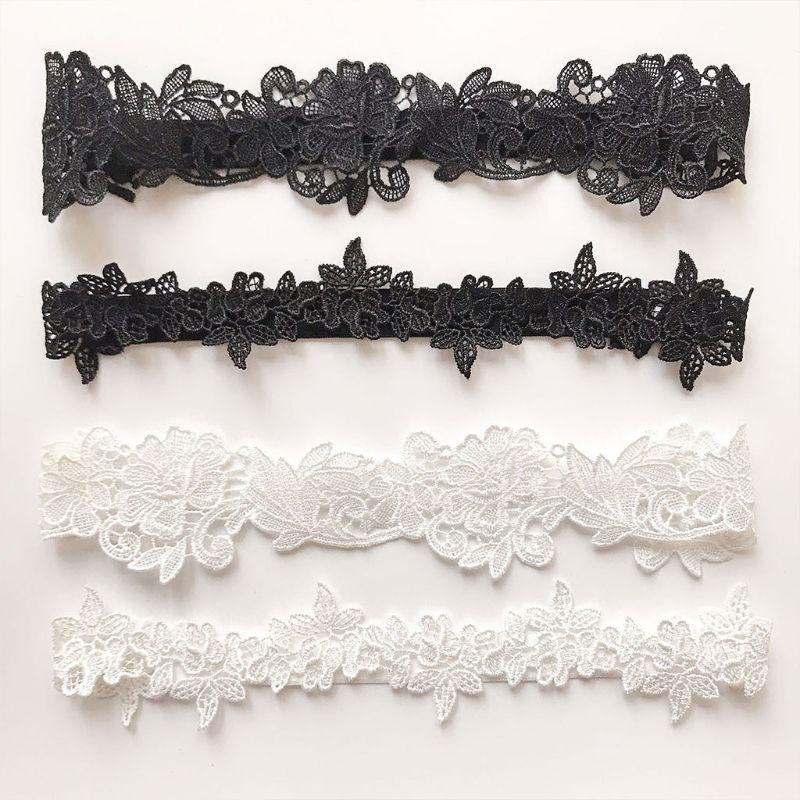 2Pcs/Set Women Wedding Bridal Leg Garters Solid Color Black/White Lace Flower Hollow Out Embroidered Stretchy Thigh Rings Rubber