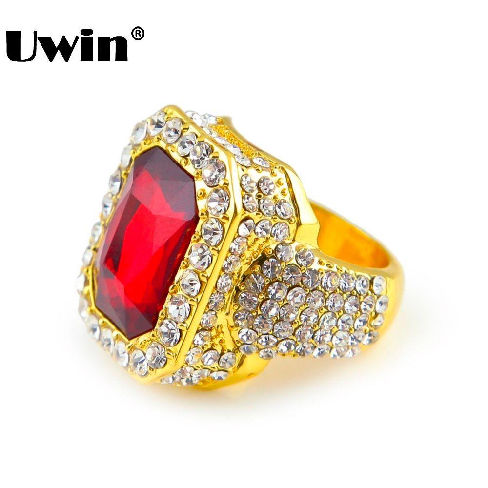 Мужская Золотой Цвет Хип-Хоп Iced Red Stone Cz Размер Кольца Доступные Роскошные Женщины Кольцо Мужская Мода Finger Bling Хип-Хоп Кольцо