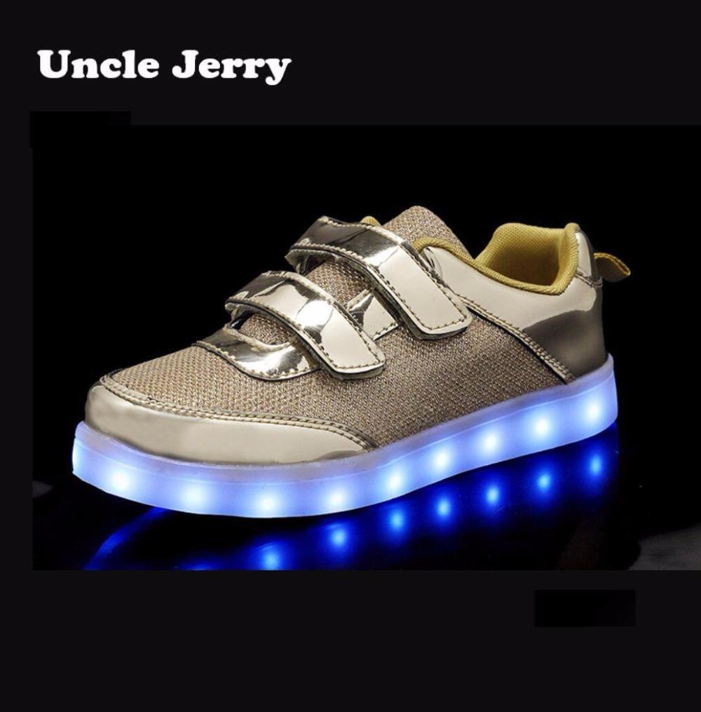 Unclejerry Çocuklar Çocuklar Için Led Ayakkabı Parlayan Sneakers Aydınlık tenis Ayakkabıları Erkek Kız Usb Şarj Için Led Işık Moda Ayakkabı Y19051303