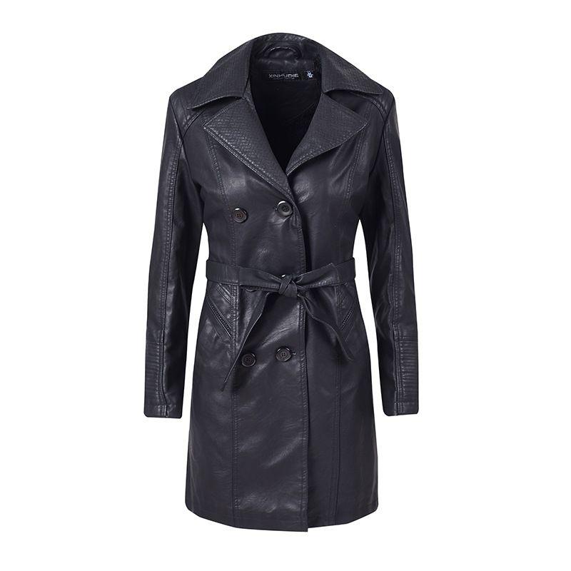 New women's jacket PU leather zipper Plus velvet long female leather Streetwear jacket motorcycle clothing coat