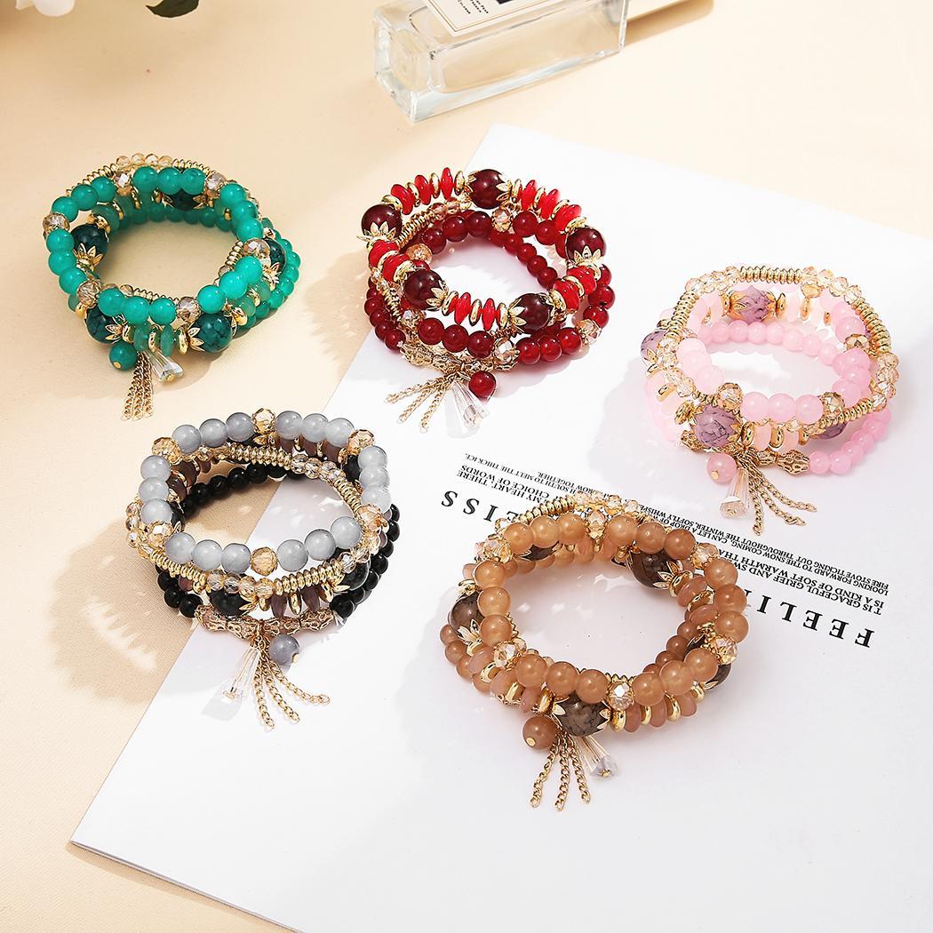 5 ألوان متعددة الطبقات Beadsed الأنيق مزاج سوار للمجوهرات حزب المرأة