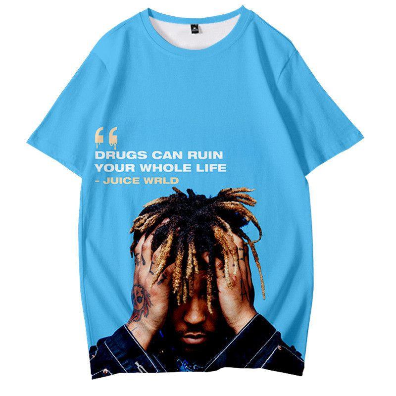 Juice Wrld Mens Designer Tshirts Rap Singer 3D Printed Loose Short Sleeved Crew Neck Pullover Tshirts Fashion Mens Tees
