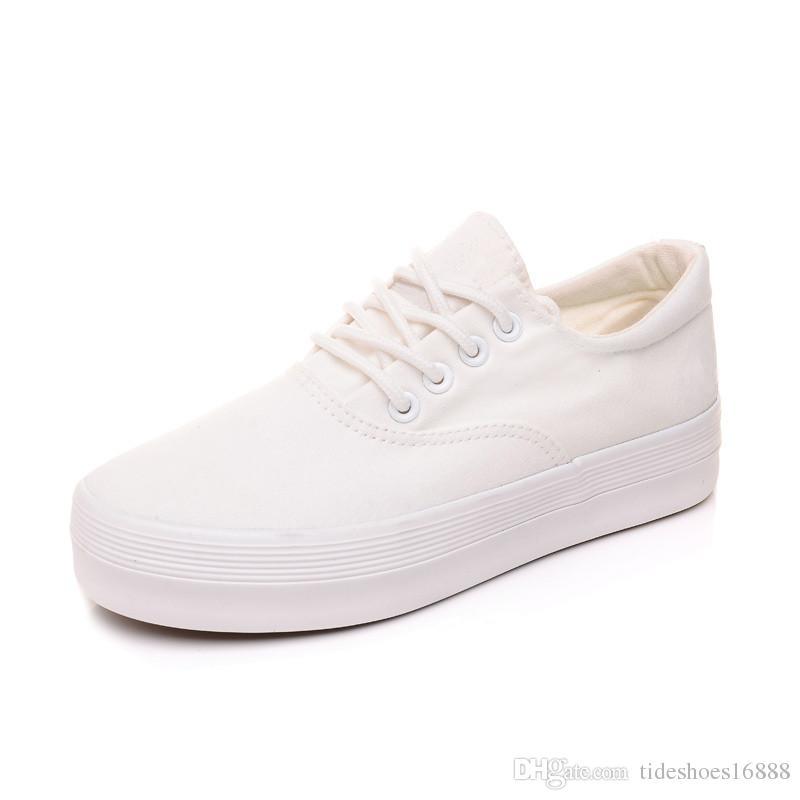 Zapatos blancos respirables de las mujeres zapatillas de deporte de la plataforma 2019 de suela gruesa zapatos de lona para mujer Zapatos de diseñador Zapatos Mujer Negro Zapatillas de deporte FG-CC