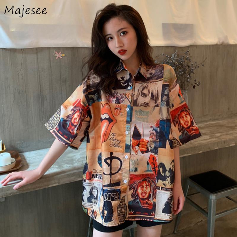 Camisas para mujeres Venta caliente colorido francés retro de manga corta de la túnica tops frescos populares suelta Todo-fósforo elegante de las señoras camisa de Nueva BF