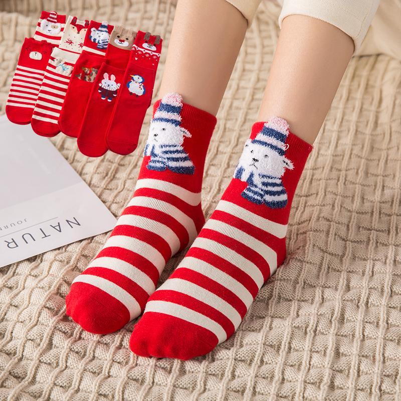Vente en gros cadeau de Noël Socquettes coton respirante Eté Automne Adultes Casual Solide Couleur socquettes Cerf Ours Parttern