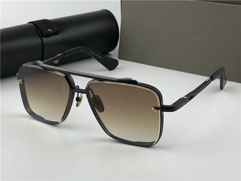 Новые солнцезащитные очки для мужчин Солнцезащитные очки Солнцезащитные очки Мужчины Металл Старинные моды Стиль Стиль Квадрат Рамка УФ 400 Линнс с корпусом