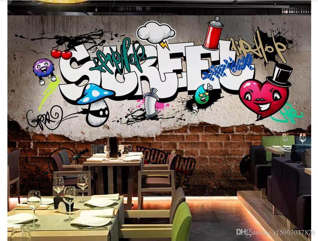 3D Wallpapers Custom Mural Wall Paper European Retro Street Graffiti Brick Wall Broken Bar Bar Restaurant Background Papel De Parede Wallpaper