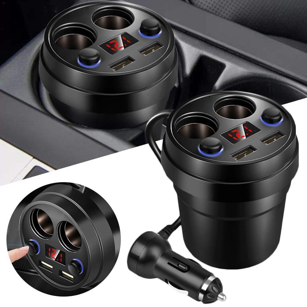 3.1A universal con doble puerto USB cargador de coche de copa del tipo de coche de carga Indicación de la tensión del LED con 2 toma del encendedor para el GPS de carga DVR