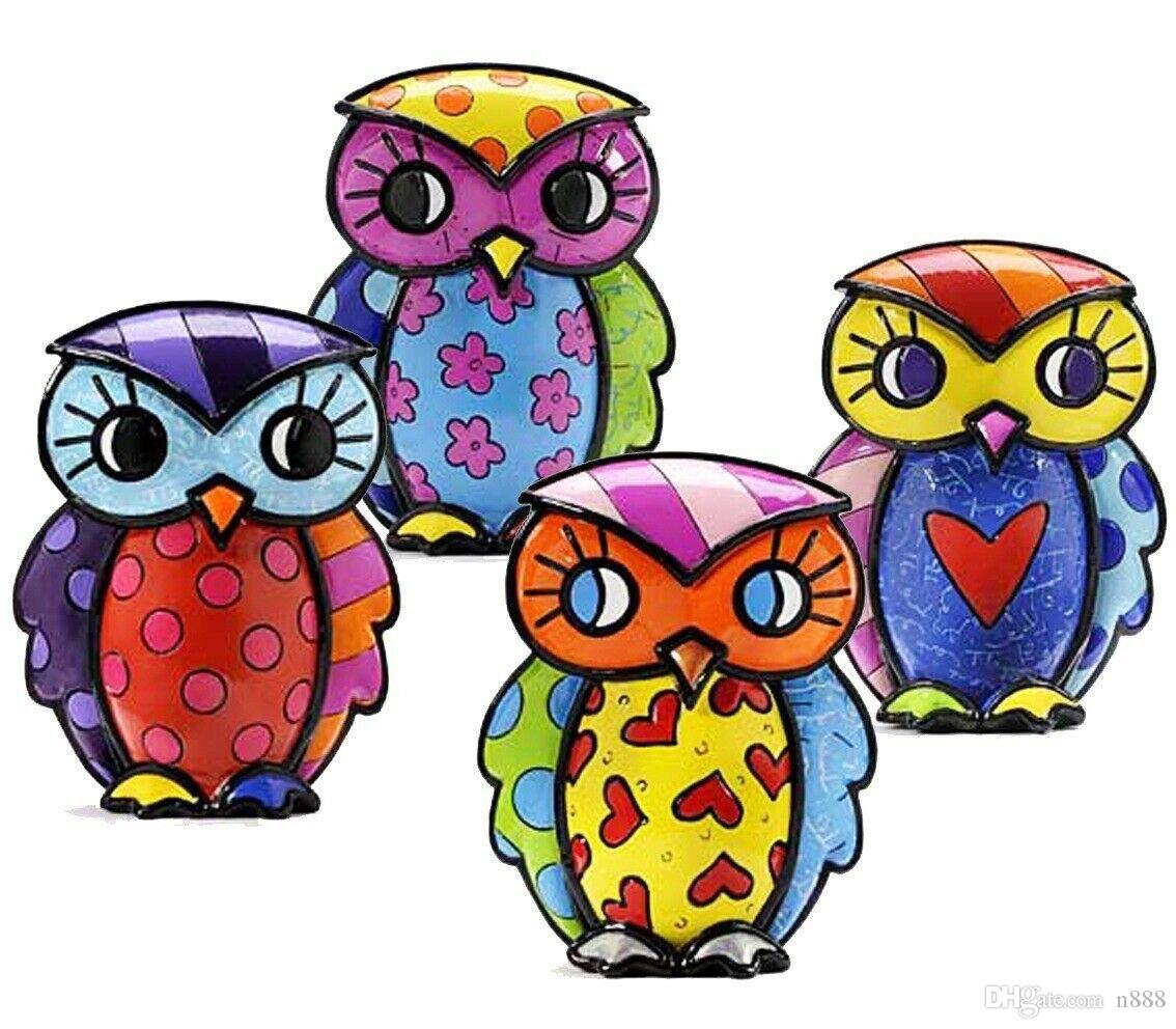 """Romero Britto """" 4 Owls """" Pop Art Home Decor Handcrafts /HD Print Oil Painting On Canvas Wall Art Picture 191031"""