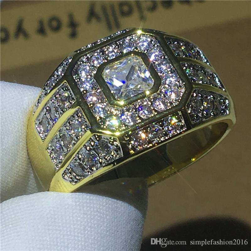 Moda Hiphop Jóias 925 anel de prata esterlina 5A Zircon Cz pedra Cor de Ouro de Aniversário anéis de banda de casamento para homens Presente
