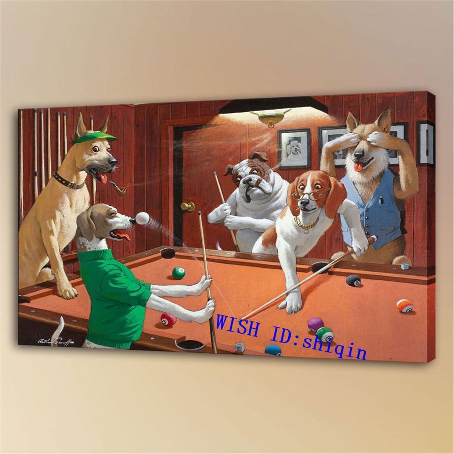 Perros que juegan al billar -2, Impresión en lienzo HD Nueva decoración del hogar Pintura artística / (sin marco / enmarcada)