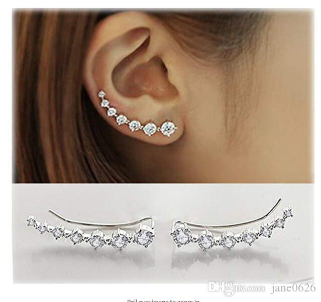 7 Crystals Ear Cuffs Hoop Climber Alloy Silver Earrings Hypoallergenic Earring 2 colors free shipping