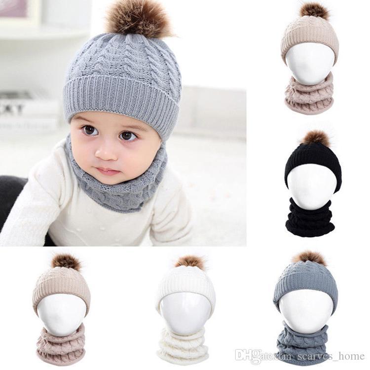 Baby Kids Knitted Hat Scarf Children Winter Warm Pompom Fur Caps Beanie Cute Boys Girls Pom Pom Hats Ring Scarves Suit